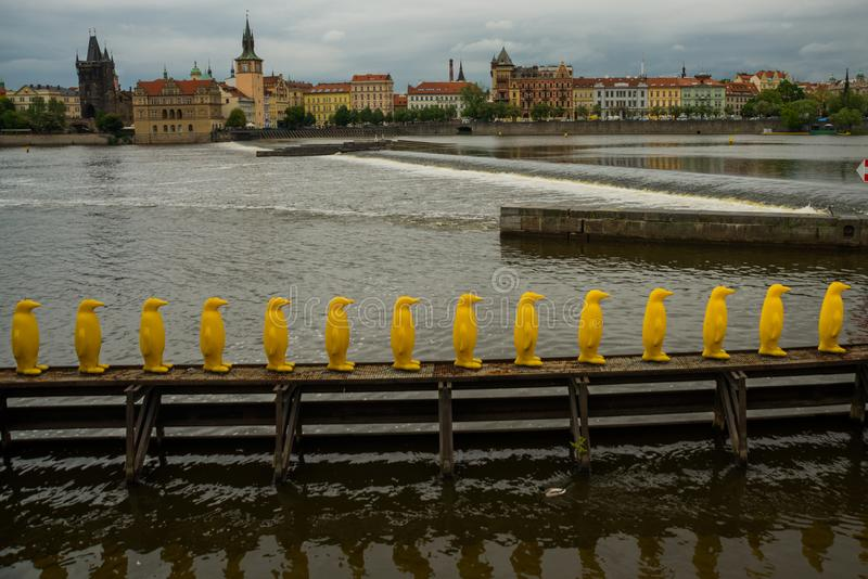 PRAGUE, CZECH REPUBLIC: The Penguins installation by the Cracking Art Group at Kampa Park, Prague royalty free stock image