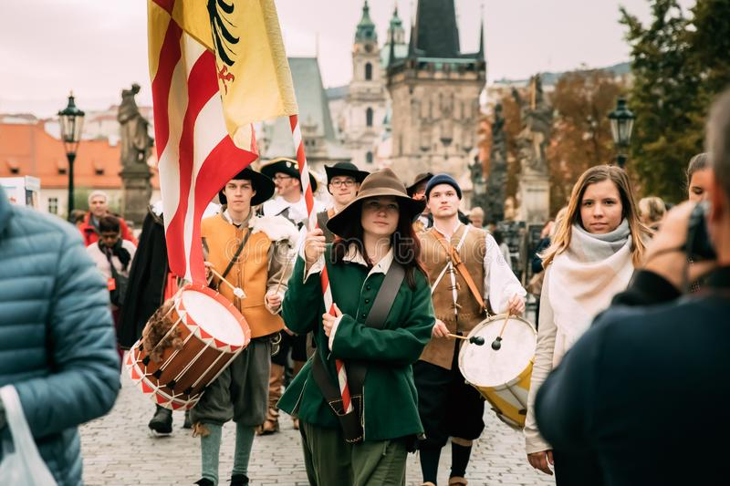 Prague, Czech Republic. Procession of people dressed in costumes royalty free stock images