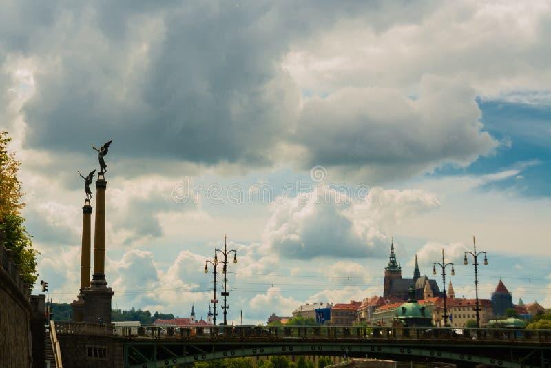 PRAGUE, CZECH REPUBLIC: Sculpture on the Chekhov bridge over Vltava river royalty free stock photos