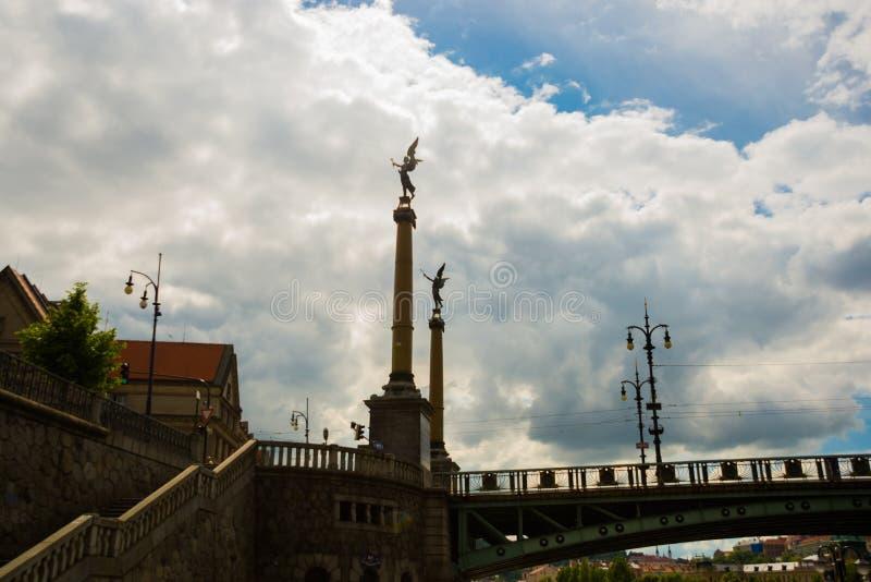 PRAGUE, CZECH REPUBLIC: Sculpture on the Chekhov bridge over Vltava river royalty free stock photo