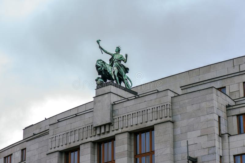 Prague, Czech Republic . Sculpture at the Czech National Bank royalty free stock image