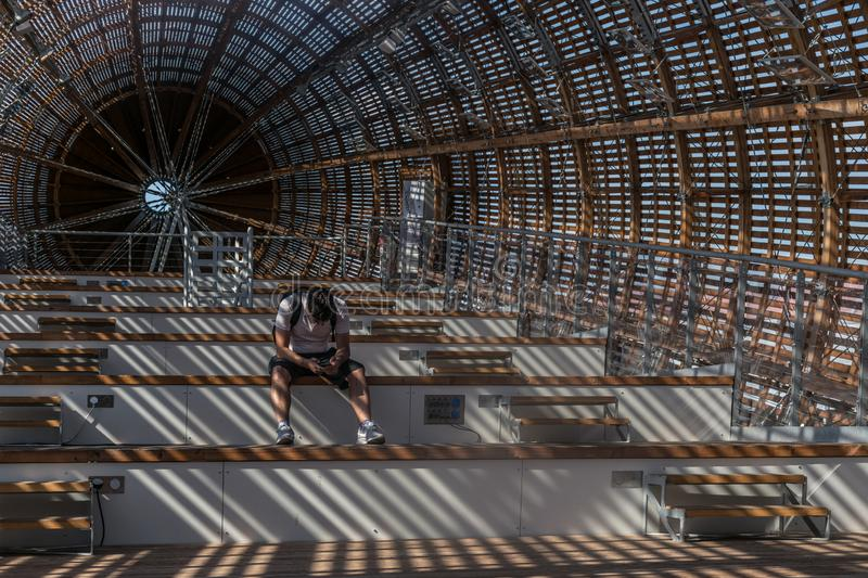 Prague, Czech Republic - September 10, 2019: DOX, Prague Gallery of contemporary art, interior of Guliver airship stock photography