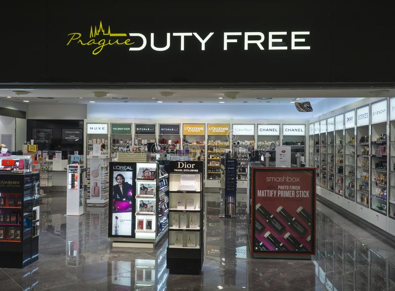 PRAGUE, CZECH REPUBLIC, September 21, 2018: Empty Prague Duty Free shop on Airport with famous perfume brands stock images