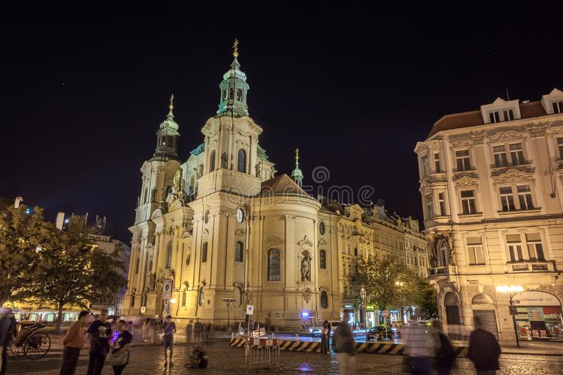Prague, Czech Republic - 20.08.2018: St. Nicholas Church located at night on the old town square stock photo