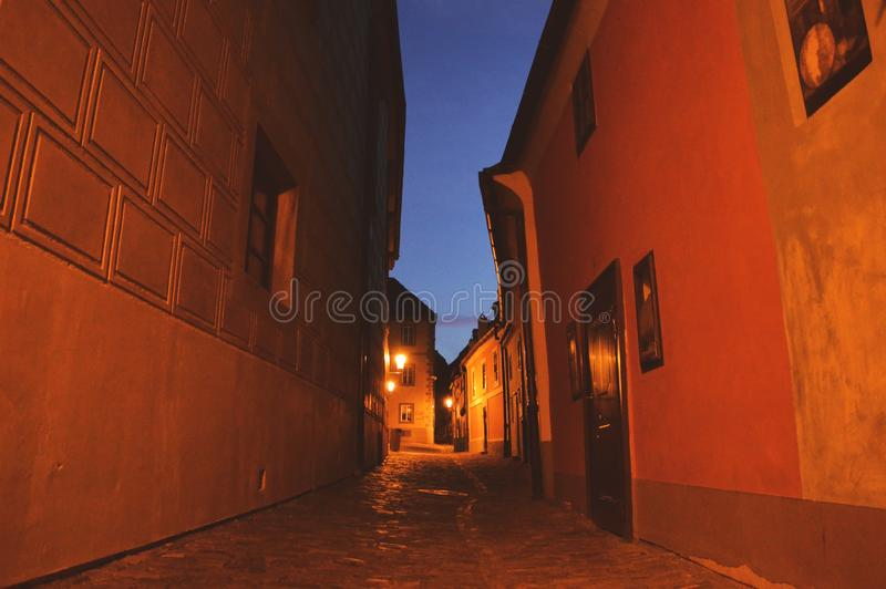 Prague, Czech Republic, street in the evening stock images