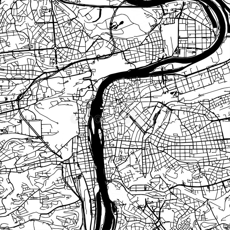 Prague Czech Republic Vector Map. Monochrome Artprint, Outline Version for Infographic Background, Black Streets and Waterways royalty free illustration