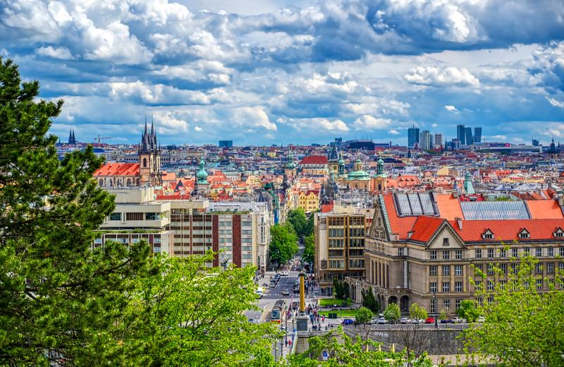 Prague, Czech Republic. A view of Prague, Czech Republic and the Vltava River from Letna Gardens on a sunny day stock image