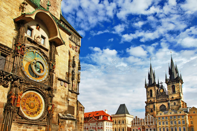 Prague. Czech Republic - view of square and astronomical clock royalty free stock photo