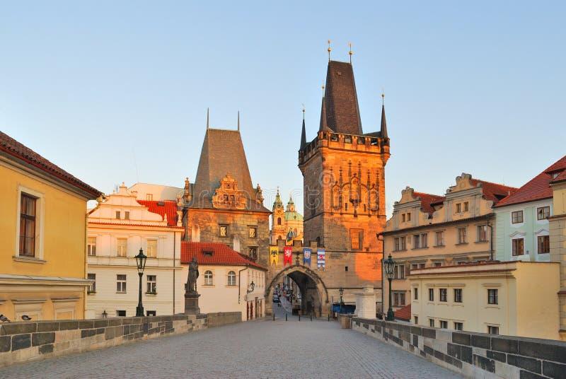 Prague at dawn stock photos