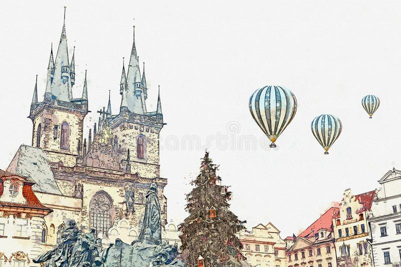 Prague, December 13, 2016: Decorated Christmas tree stands on the main square in Prague during the New Year holidays vector illustration
