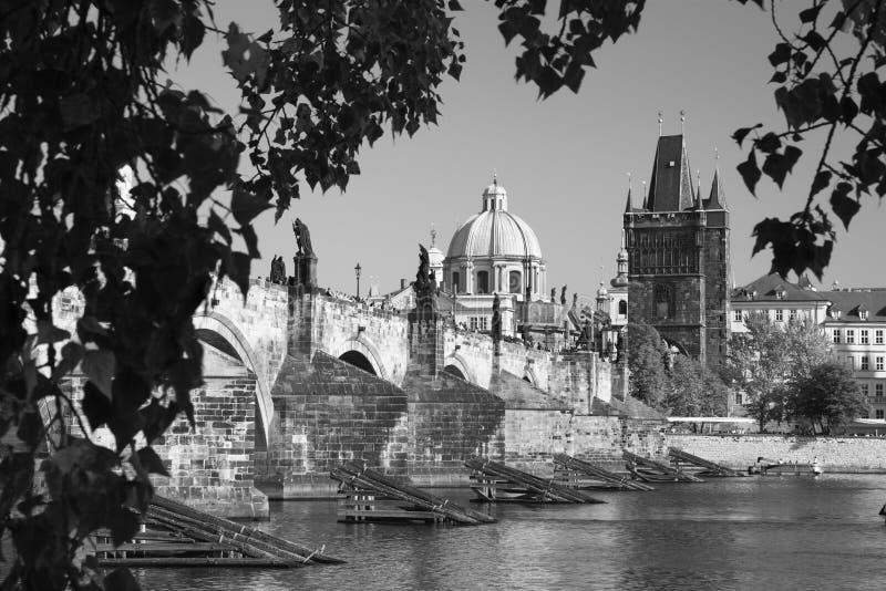 Prague - den Charles bron arkivfoto