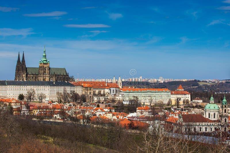 Prague domkyrka och stad som ses från den Petrin kullen i en härlig dag royaltyfria foton