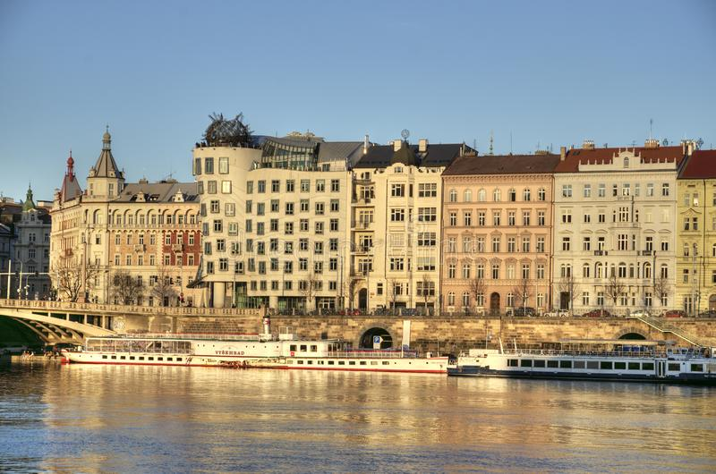 Prague embankment with Dancing house royalty free stock photo