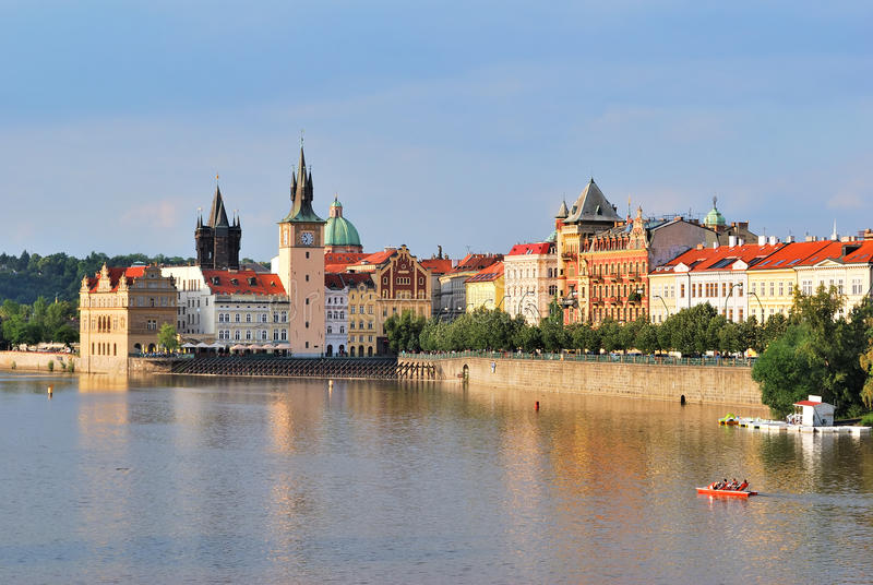 Prague in the evening stock images