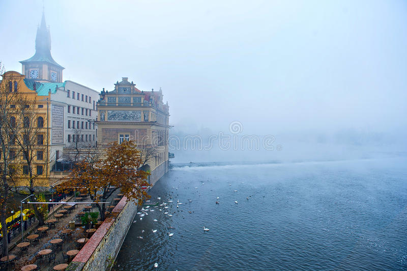 Prague fog royalty free stock images