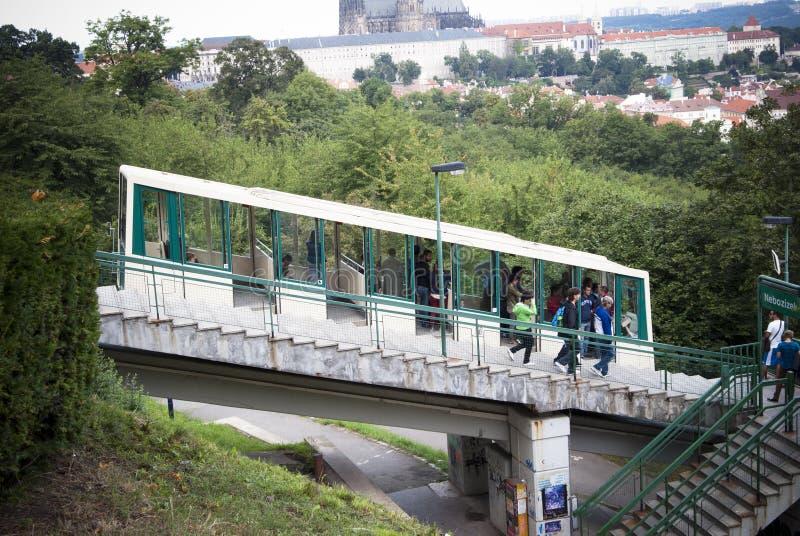 Prague. Funicular railway stock images