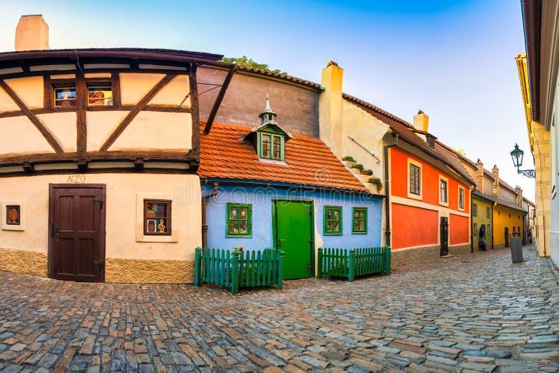 Prague. Golden Lane in the Castle area in the district of Hradčany royalty free stock image