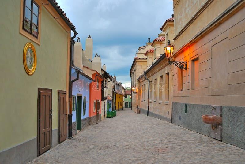 Prague. Golden Lane at twilight stock images