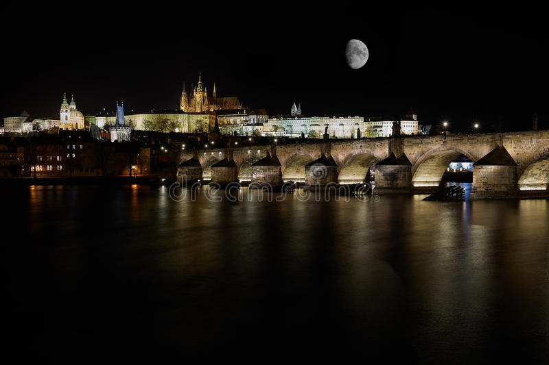 Download Prague Gothic Castle With Charles Bridge In The Night Stock Image