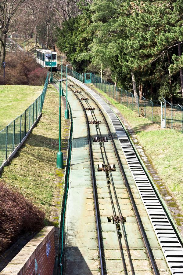 Prague historical funicular, Czech Republic royalty free stock image