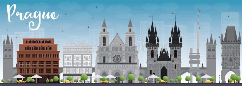 Prague horisont med gråa gränsmärken och blå himmel stock illustrationer