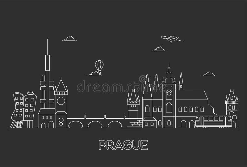 Prague horisont, Tjeckien stock illustrationer
