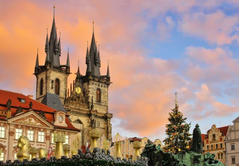 Prague julmarknad arkivfoto