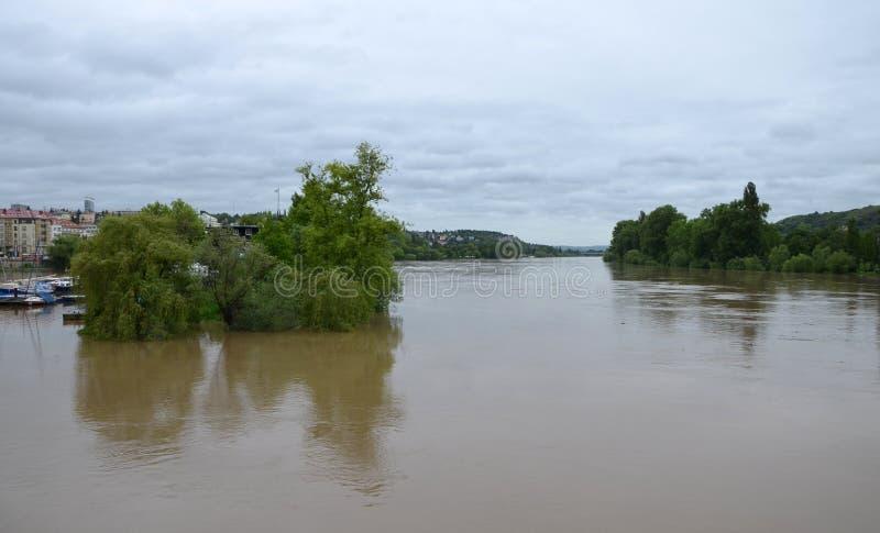 PRAGUE - JUN 4: Flooding in Prague. Swollen river Vltava. Jun 4, 2013 royalty free stock photo