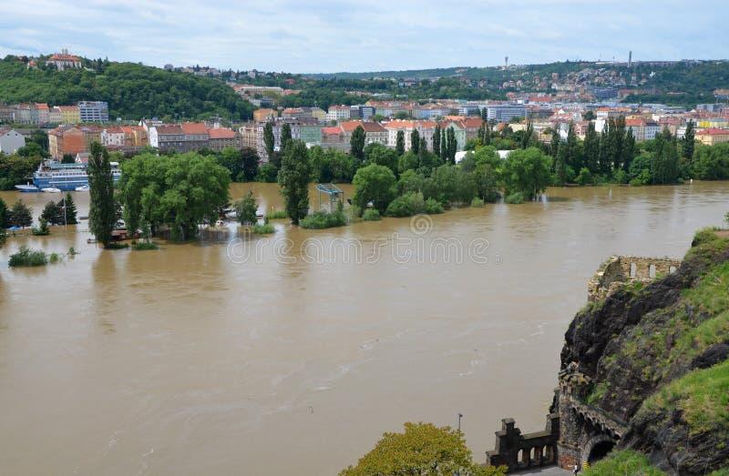 PRAGUE - JUN 4: Flooding in Prague. Swollen river Vltava. Jun 4, 2013 royalty free stock photos