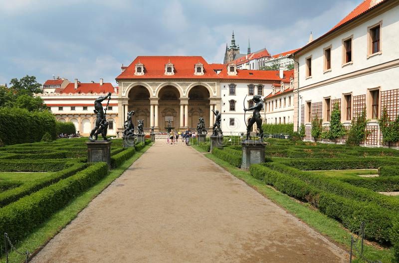 Wallenstein Palace in Malá Strana, Prague, currently the home of the senate of Czech Republic royalty free stock photo