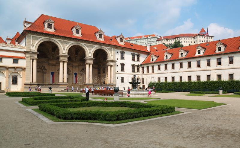 Wallenstein palace in Prague currently home of senate of the Czech Republic. Prague, Jun 11, 2018 - Wallenstein palace in Mala Strana, Prague which now houses royalty free stock photos