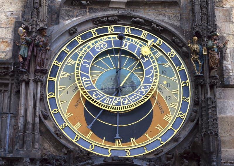 Prague klocka fotografering för bildbyråer