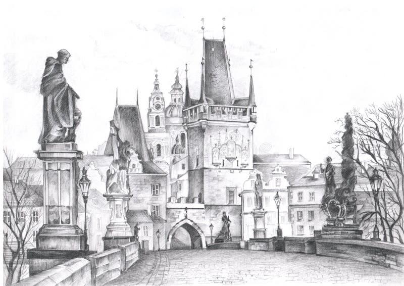 Prague landskap som med blyerts dras Sikt av Prague arkivfoto