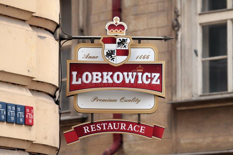 Prague. Logo des bars de bière photographie stock libre de droits