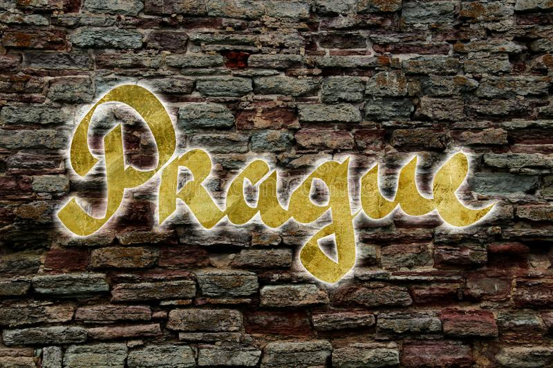 Prague logo of neon. Tubes on a brick wall royalty free stock image
