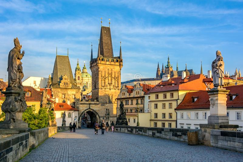 Prague main symbol at dawn: Charles Bridge, Lesser Town Bridge Towers and Prague castel. Czech Republic, Bohemia. Prague main symbol at dawn: Charles Bridge royalty free stock photo