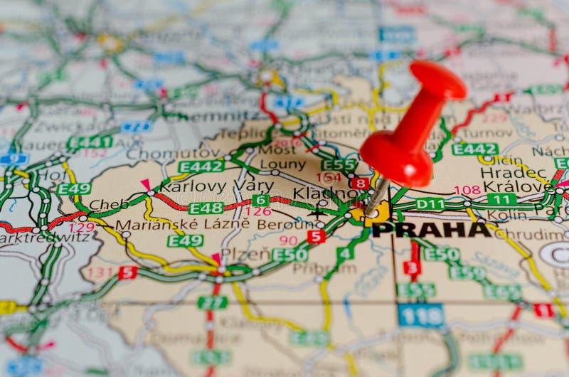 Prague on map stock photos