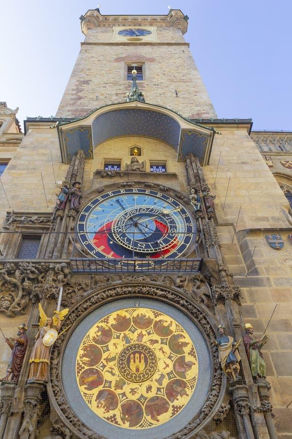 Prague medieval astronomical clock Orloj on Old Town Hall tower, Prague, Czech republic royalty free stock image