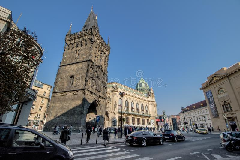 The Prague Municipal House in autumn, Prague, Czech Republic. The Prague Municipal House or Representation House Czech Obecní dům is located on Republic royalty free stock images