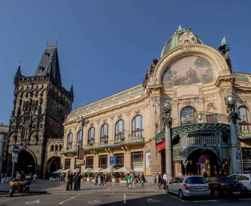 The Prague Municipal House in autumn, Prague, Czech Republic. The Prague Municipal House or Representation House Czech Obecní dům is located on Republic stock photos