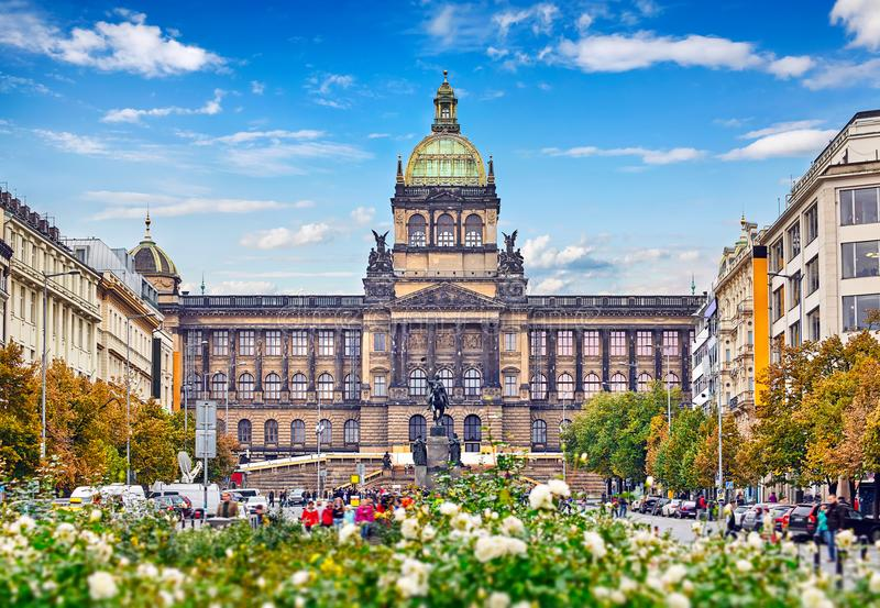 Prague national museum building at Wenceslas Square royalty free stock photography