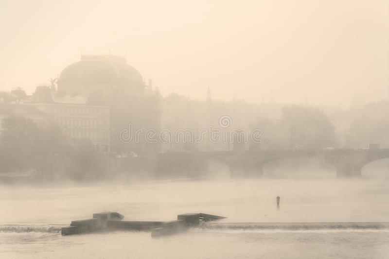 Prague - national theater in fog stock photography