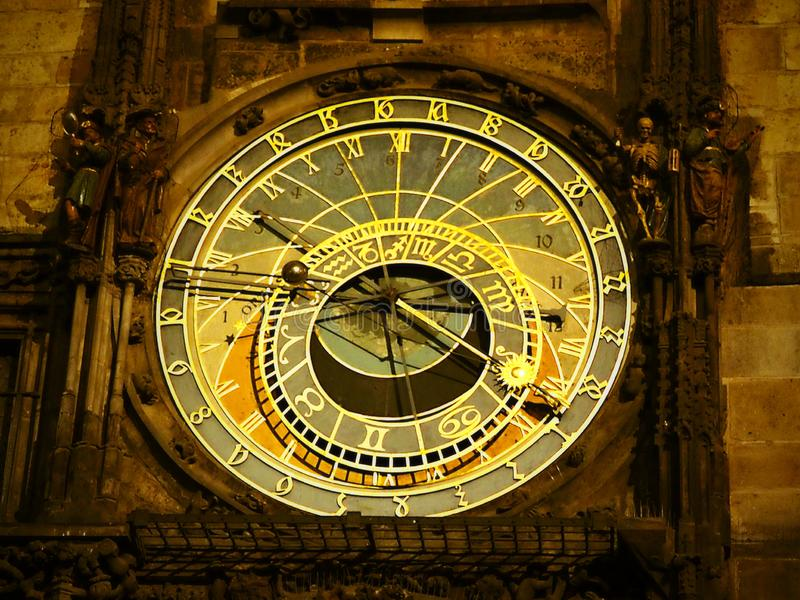 Prague night ,the astronomical clock face and the calendar board below the astronomical clock dominate. On the astronomical dial royalty free stock photo
