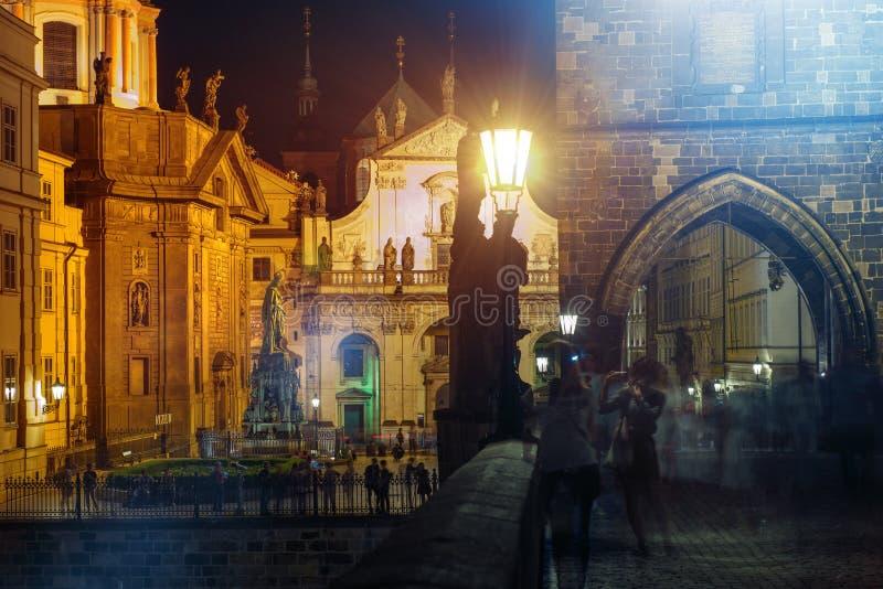 Prague Night Life. Prague Summer Night Life. Famous Charles Bridge Karluv Most During Late Evening Hours. Prague, Czechia. Czech Republic, Europe stock image
