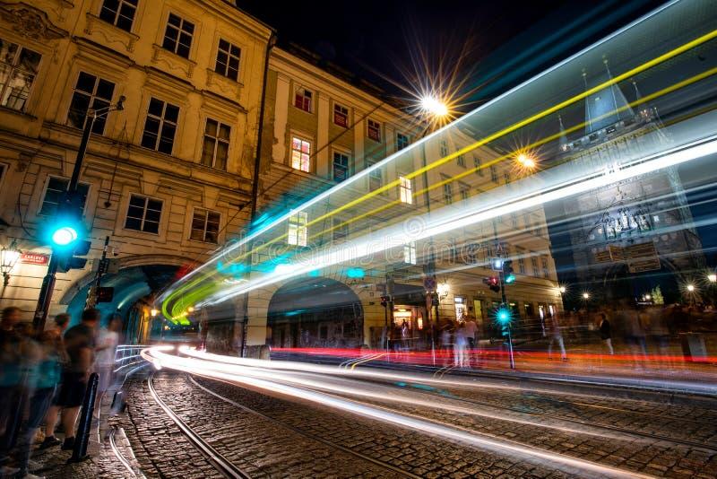 Prague at night  Town Bridge Tower royalty free stock image