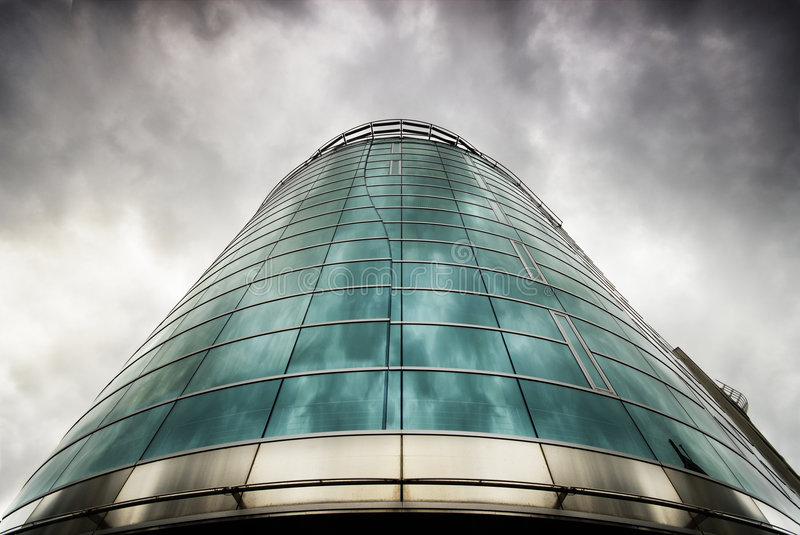 Prague Office. Big Office building at scary weather royalty free stock photography