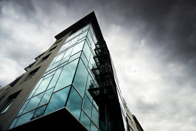 Prague Office. Big Office building at scary weather stock images