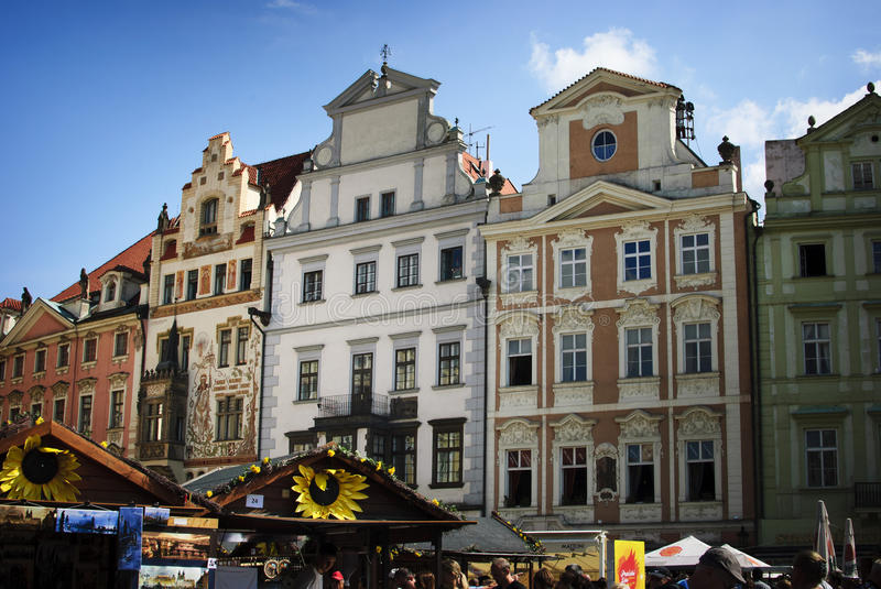 Prague. Old Buildings and stalls stock images