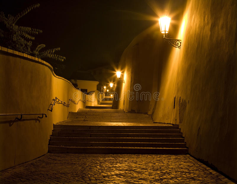 Prague - old castle stairs. In the night royalty free stock image