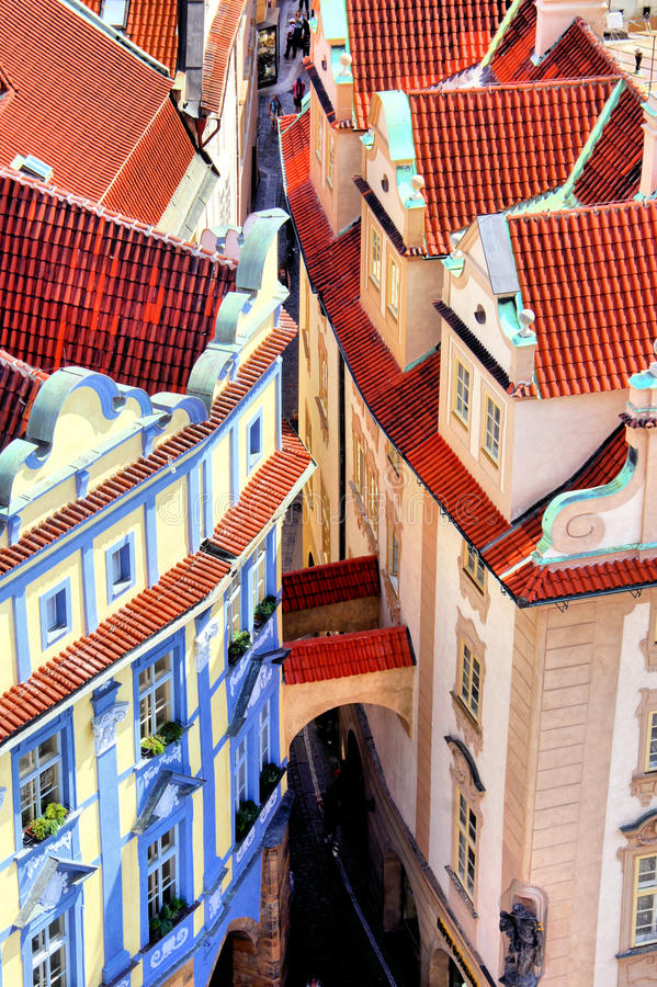 Prague Old Town. Aerial view over medieval houses of the Old Town of Prague, Czech Republic royalty free stock photo